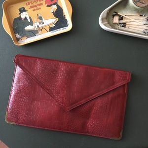 Maroon Envelope Clutch
